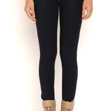 High Waisted Denim Knit Jeggings