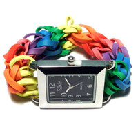 Black Stretch Watch, Stainless Steel Watch with Rainbow Band or Customize Your Own Band - Christmas Gift Ideas, Unique and Uncommon Gifts