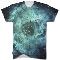 Vibe blue galaxy all over print t shirt