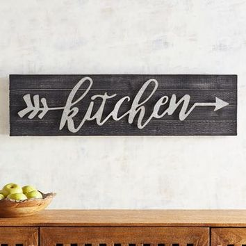 Kitchen Black Planked Wall Decor