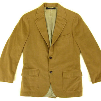 Vintage Brooks Brothers Tan Camel Hair Coat - Blazer Sport Coat Jacket Ivy League Menswear - Men's Size 38 L - Medium Long