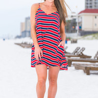 Sparks Fly Dress, Red-Navy