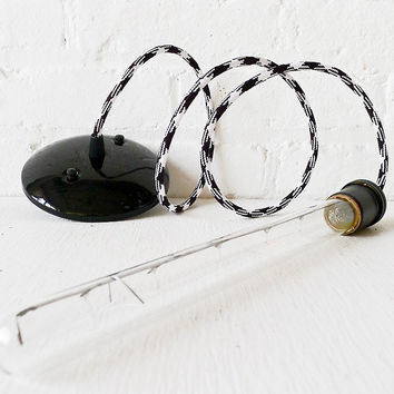 Bare Bulb Tubular Light Pendant with Black and White Color Cord