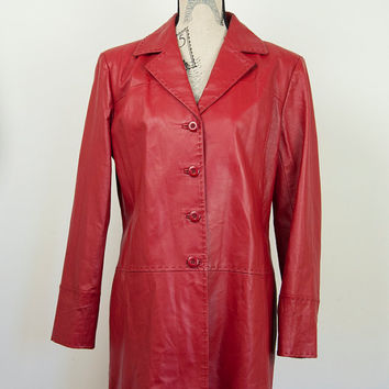Vintage Ladies For Women Red Soft Real Leather Tailored Long Coat Jacket Size UK 14 70s 60s Austin Powers inspired