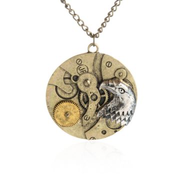 Steam punk style Clock Hawk pendant charm necklace , the perfect gift for the boy !