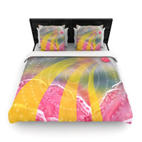 "Infinite Spray Art ""Enlightening"" Pink Yellow Woven Duvet Cover"
