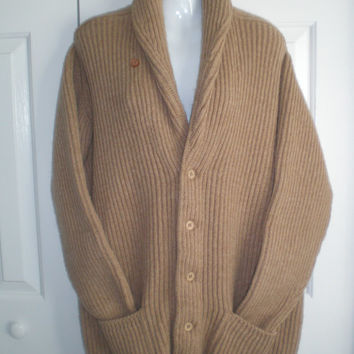 Vintage Burberry boyfriend style cardigan sweater. button front with pockets, size xlarge. Camel color with shawl collar. Scotland.