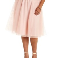 Plus Size Pale Blush Tulle Full Midi Skirt by Charlotte Russe