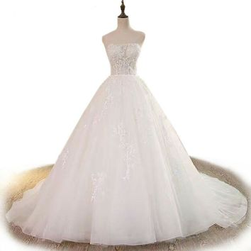 Luxury Romantic Wedding Dress Long Sexy Strapless Bridal Gown White Lace Princess Wedding Gown