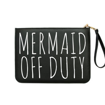 Mermaid Off Duty Clutch - 7x9 in Faux Leather Handbag - Clutch - Pouch - AGB-083