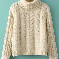 Beige Folded High Neckline Knitted Crop Sweater