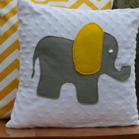 Grey and Yellow Elephant Pillow
