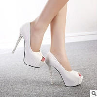 2015 Sexy high heels waterproof shoes OL fish head high with shoes nightclub fine with princess shoes