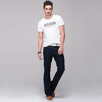 Men Classic Mid Rise Boot Cut Leg Slightly Flared Bell Bottom Jeans Denim Pants trousers haleter arfar ansimare pantalon