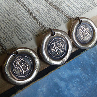 Bronze Wax Seal Monogram Necklace. Personalized Initial Pendant. Oxidized Sterling Silver Chain