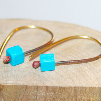 Petite Turquoise Earrings, Open Hoop Earrings, Sterling Silver Earrings,  Natural Stone, Short Drop Earrings, Delicate Handmade Earrings