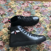 Gucci Leather Bee embroidery bottomed high-tops brevis-ocrea White & Black