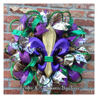 Mardi Gras Wreath - Fleur De Lis Wreath - Mardi Gras - New Orleans  - Deco Mesh Wreath - Door Decor - Ready To Ship