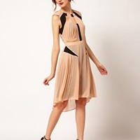 Warehouse Panelled Pleat Dress at asos.com