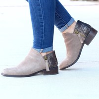 Very Volatile: Greyson Snake Embossed Suede Bootie {Taupe}