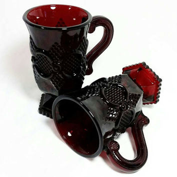 Vintage Avon Cape Cod Ruby Red Pedestal Mug/Sandwich Pressed Glass Vase/Footed Diamond Cut Cup (Lot of 2)