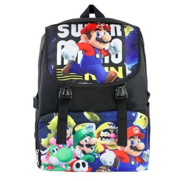 Super Mario Nylon Waterproof Laptop Backpack Travel Double-Shoulder Bag School Bag