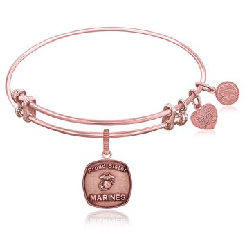 Expandable Bangle in Pink Tone Brass with U.S. Marines Proud Sister Symbol