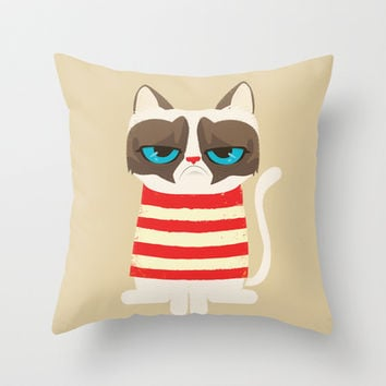 Grumpy meme cat  Throw Pillow by Catalin Anastase