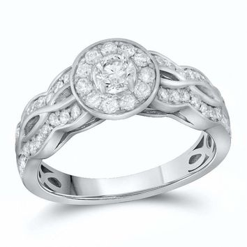 14kt White Gold Women's Round Diamond Solitaire Bridal Wedding Engagement Ring 3-4 Cttw - FREE Shipping (US/CAN)