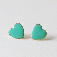 Seafoam Green Tiffany Blue Heart Post Earrings Gold by LeChaim