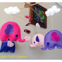 Hanging Nursery baby Mobile Flying Elephant Two by hingmade