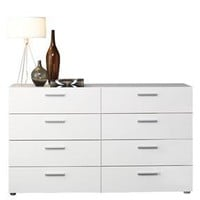White Modern Bedroom 8-Drawer Double Dresser
