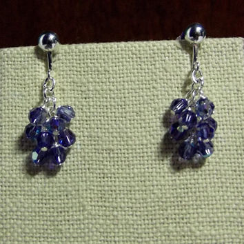 Swarovski Purple Tanzanite Crystal Clipon Cluster Earrings 0e9f01426