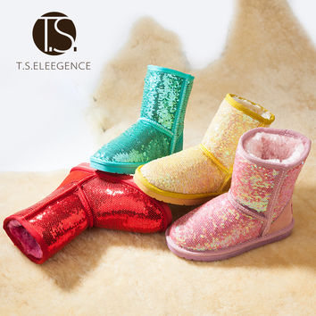 Christmas T.S. kids boots Winter shoes rubber boots girl thickening shoes kids leather warm snow boots Bling sparkle shoes