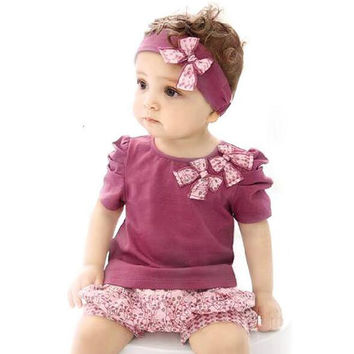 Summer Newborn Baby Girl Clothes New Fashion Baby Clothes(Tops+Headband+Pants)3Pcs/Set Infantil Set for Baby Girl