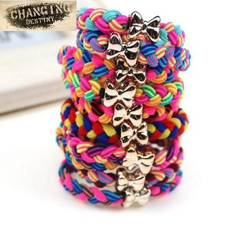 DKLW8 10 Pcs /  Lot Women Ultra Elastic Headband Hairband Ladies Braided Scrunchie Hair Rope Rubber Band Girls Bow Hair Accessories