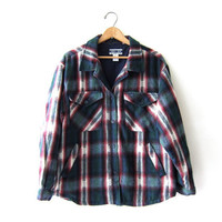 Vintage Plaid Flannel / Flannel Jacket w Pockets /  Button Up Blanket Coat / Southwestern Insulated Shirt.