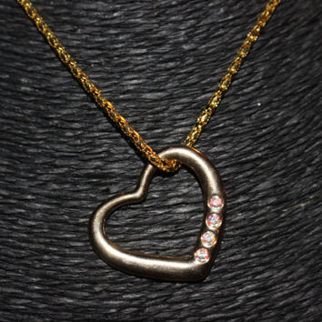 Gold Heart with Rhinestones Pendant Necklace