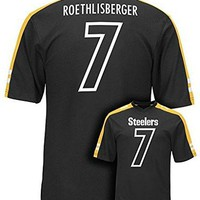 Ben Roethlisberger #7 Pittsburgh Steelers NFL Mens Majestic Hashmark Jersey Black Big & Tall Sizes