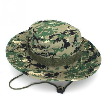 New Unisex Bucket Boonie Hat With String Camouflage Nepalese Men Women Cap Fisherman Hat Military Camouflage Jungle Hat