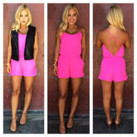 Coastline Romper With Pockets - HOT PINK