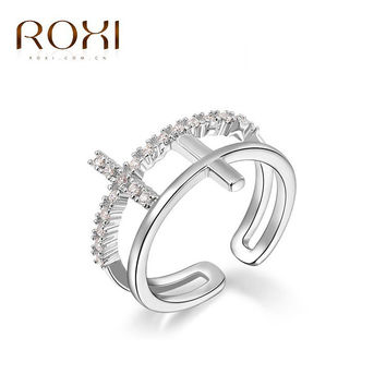 ROXI Delicate Cross ring rings platinum and Rhodium plated with AAA zircon,free shipping ,Micro-Inserted Jewelry1010034