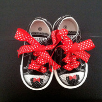 Minnie Mouse Swarovski Crystal Bling-bling Infant or Toddler shoes Converse