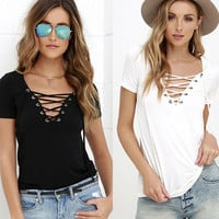 Summer Women Hollow Bandage Sexy Strappy Solid Erotic T-Shirt _ 7215