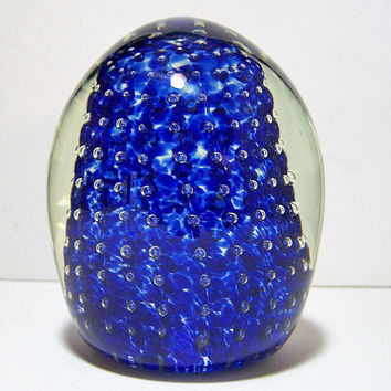 Cobalt Blue Blown Art Glass Paperweight. Controlled Bubbles, Abstract Clear Cased 1017