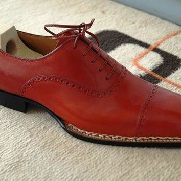 Wakeby Wolf Formal Red Brogue Leather Shoe