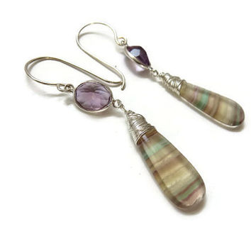 Amethyst and Flourite Sterling Silver Dangle Earrings