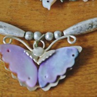 FREE SHIPPING Vintage Antique Hardstone Necklace, Bird And Butterfly Necklace, Bead Necklace