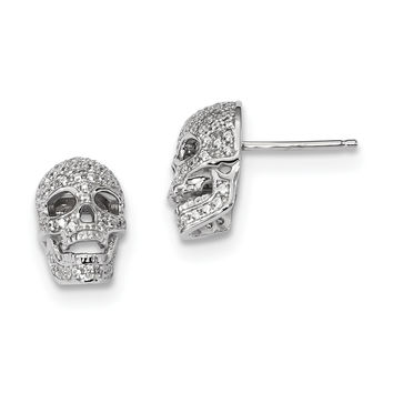 Sterling Silver & CZ Brilliant Embers Polished Skull Post Earrings QMP1142