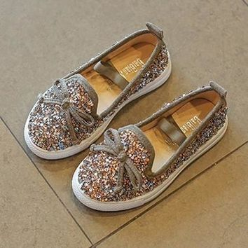 GOLD MERMAID GLITTER JEWELED SUEDE SLIP-ON FLAT BOW TIE BLING TENNIS SHOES